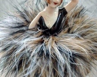 Powder Puff  Porcelain Doll with black powder puff and black brown and white boa