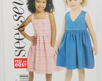 Butterick B4765 Yes! It's Easy See & Sew (c. 2006) Child's Size 4-6, Adorable Girl's Sundresses, Summer Dress, Sleeveless Dress, Easy Sewing