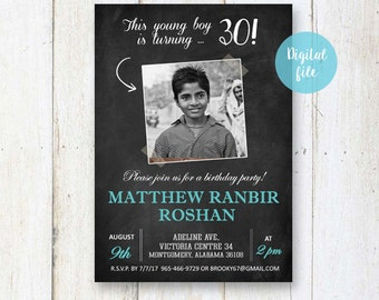 30th Birthday Invitation for men | Chalkboard collage photo invite for him husband brother son daddy dad |  DIGITAL file!
