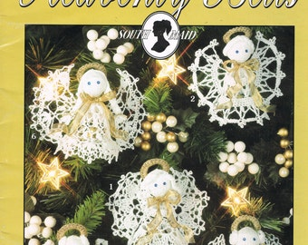 Christmas Angels Crochet Patterns -  Crochet Thread Angels - Christmas Angel Ornaments - Heavenly Bells - Leisure Arts 2921