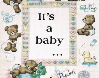 CROSS STITCH PATTERN - It's A Baby Cross Stitch - Baby Cross Stitch - Teddy Bear Cross Stitch  - Nursery Decor - Dale Burdett