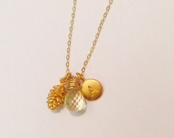Pine Cone Initial Charm Necklace