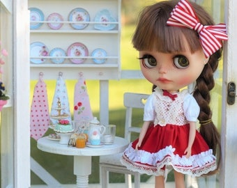 "Blythe Dress ""Strawberries and wipped cream"""
