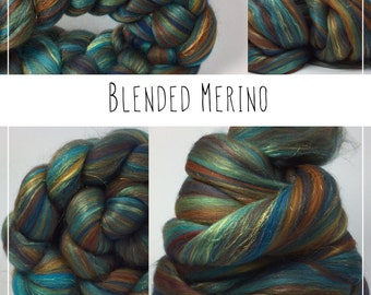 Stunning blended Merino and mulberry silk wool tops/roving - PATINA