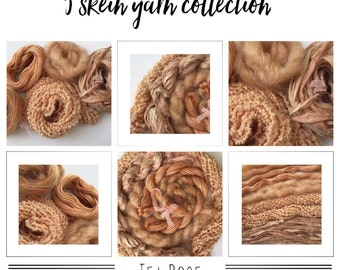 TEA ROSE Creative yarn variety pack/bundle. Mixed speciality fibres/fibres yarns, art yarn, ribbon, fringe effects, embellishment