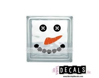 Snowman Face - Christmas and Winter Vinyl Lettering for Glass Blocks - Craft Decals