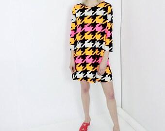 neon houndstooth shift dress black orange pink unique allover print stretch dress large