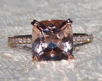 Cushion Morganite in Rose Gold Diamond Solitaire Engagement Ring, Morganite Engagement Ring