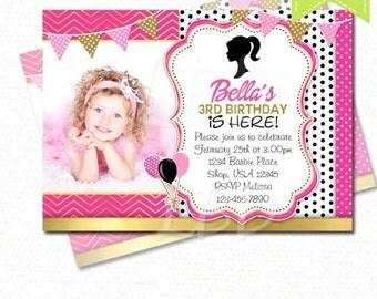 Fashion Girl Birthday Invitation | Pink, Gold, Black | YOU PRINT