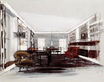 Architectural Drawing Book Plate of Office. 1960.
