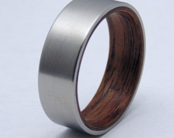 Titanium and wood ring  bentwood Walnut liner and satin titanium wedding band