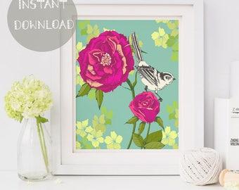 Printable Wall Art, Floral Nursery Decor