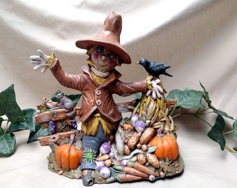 Large Ceramic Scarecrow with harvest