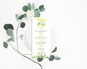 Printable Wedding Menu - Wedding Menu Card - Wedding Menu - Menu Card - Printable Menu - Lemons Wedding Menu - Botanical Menu Lemons Yellow