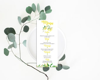 Printable Wedding Menu - Wedding Menu Card - Wedding Menu - Menu Card - Printable Menu - Lemons Wedding Menu - Botanical Menu Lemons Yellow