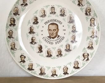 US Presidents Plate / features: vintage / Lyndon B Johnson / mid century / commerative plate