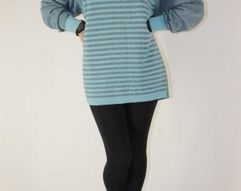Striped wool sweater dress (M / L)