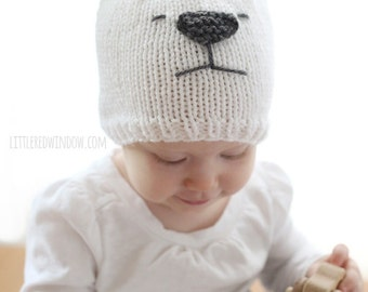 Little Polar Bear Hat KNITTING PATTERN - Winter bear knit hat pattern for babies, infants, toddlers - sizes 0-3 m, 6 m, 12 months, 2T+