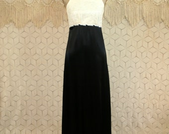 Vintage 80s Formal Dress Prom Dress XS Black Satin White Lace Empire Waist High Waist Maxi Sleeveless Long Dress 1980s Womens Clothing