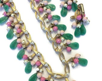 Poured Glass Jewelry Set, Vintage 1940s 1950s Set, Pink and Green Glass Necklace and Earrings, Costume Jewelry, Demi Parure