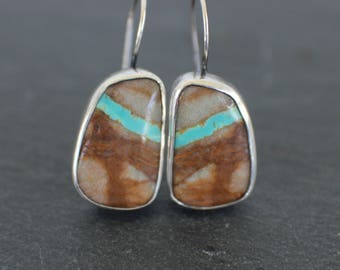 sterling silver royston ribbon turquoise earrings - metalsmith artisan jewelry - earthy stone earrings