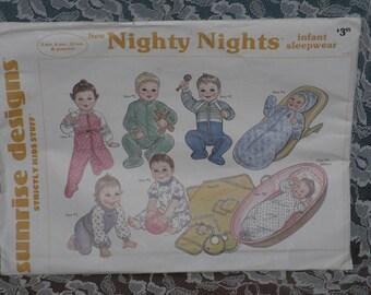 Nighty Nights Pattern Infant Sleepwear Sunrise Designs Sleeper Pajamas Layette Vintage
