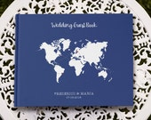 Map Wedding Guestbook, Blue and White Wedding Map Guest Book,  Destination Wedding Guest Book,  GB 001