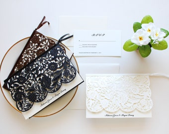White Wedding Invitation, Lace Wedding Invitations, Vintage Wedding Invitation, CW5173