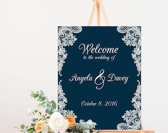 Navy Wedding Sign, Welcome Wedding Sign, Welcome to our Wedding Sign, Navy Wedding Decor, Wedding Signage, SKU: S004