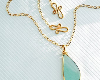 Sea Glass, Genuine Sea Glass, XX Large Rare Aquamarine Sea Glass Handmade Necklace 14 kt Gold Filled, Seaglass Jewelry, New Jersey Sea Glass