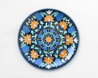 Dark blue decorative plate Spring Blossom - Bohemian decor - Wall hangings - Plate on wall - Housewarming - Wedding gift