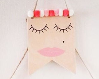 Lady Face Wood Banner / Wall Hanging