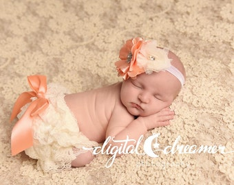 Peach, Lavender and Ivory Lace Petti Bloomer Set with Matching Headband - Cake Smash Outfit - First Birthday - Photography Prop - Newborn