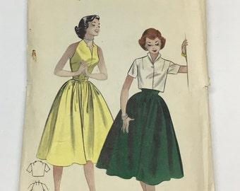 Butterick 6949 Vintage 1950's Sewing Pattern: Dress and Cropped Bolero Jacket, Size 14 (32-26-35)