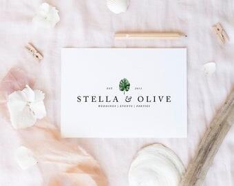 premade logo design · monstera leaf · palm leaf logo · watercolor greenery logo · event planner logo · tropical brand · small business logo