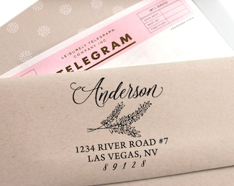 Custom address stamp with lavender, rubber stamp, self inking stamp, the perfect wedding gift, return address stamp, housewarming gift