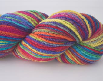 Handspun Yarn, 129 yds/118m, 'Stained Glass' colourway, Merino (20.5mic), chained 3 ply