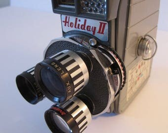 Vintage Movie Camera Mansfield Holiday II 8mm Camera with Leather Case 1950's Triple Lens Triple Turret Cine Turret Movie Camera Movie Prop