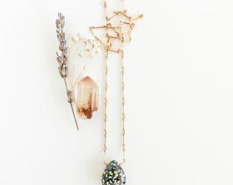 Raw Ocean Jasper Gold Choker, Raw Crystal Choker, Ocean Jasper Pendant, Ocean Jasper Necklace, Green Jasper Necklace