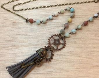 Steampunk Gear and Skeleton Key Tassel Necklace FREE Shipping Codes FREE Gift Box Mermaid Treasure Apocalyptic Steampunk Gypsy Boho Jewelry