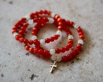 Orange Beaded Bracelets Set