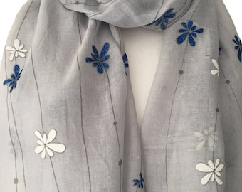 Grey Scarf with a Blue Sparkly and White Embossed Floral Print, Gray Flowers Cotton Blend Wrap