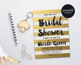 Gold Bridal Shower Invitation printable, Gold Stripes Bridal Invitation, Black and Gold Bridal Shower Invitation, Printable Bridal Shower