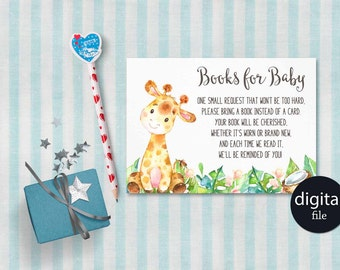 Baby Book Request, Baby Shower Book Raffle Card Printable, Giraffe Baby  Shower Book Request