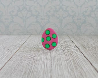 Easter Egg - Polka Dot - Green Pink - Decorated Easter Egg - Tie Tack or Lapel Pin
