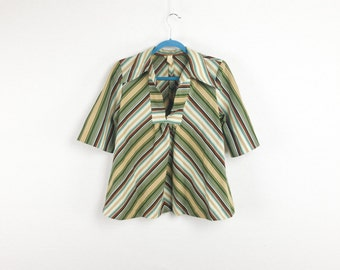 60's Striped Bell Shape Over Blouse