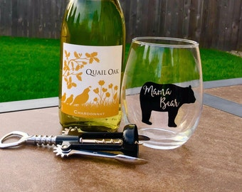 Mama Bear Wine Glass // Mama Bear // Wine Glass // Wine // Mom Life // Stemless Wine Glass // Mama // christmas gift // mom gift // mama