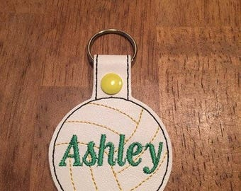 Volleyball -  In The Hoop - Snap/Rivet Key Fob - DIGITAL Embroidery Design