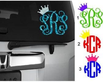 Crown Monogram Decal, Vine Monogram with Crown, Script Monogram, Princess Crown Monogram, Circle Monogram with Crown, Crown Monogram Sticker