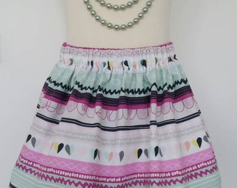 Heart skirt, tribal skirt, stripes, zig zag, heart, girls skirt, kids clothing, uk